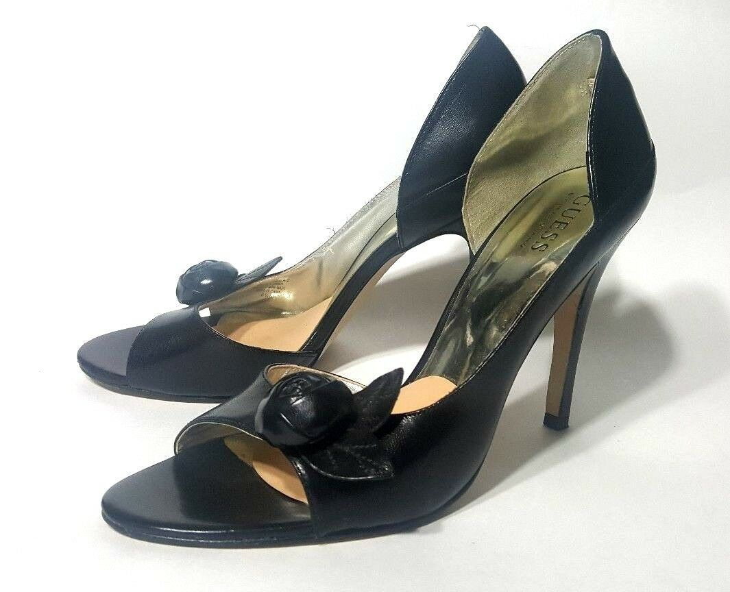 GUESS PUMPS HEELS OPEN TOE BLACK LEATHER Damenschuhe Schuhe SIZE 8.5 M