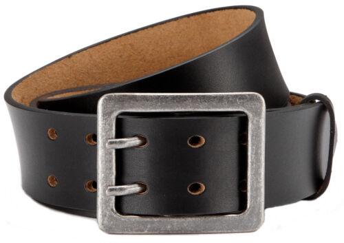 Herren Ledergürtel mit Doppeldorn-Schließe in 4,5 cm Breite Jeansgürtel