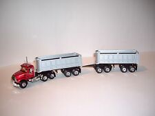 FIRST GEAR 1/64 RED MACK GRANITE WITH DOUBLE SILVER 22' END DUMPS DCP TIE