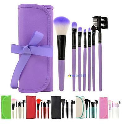 7pcs/set Makeup Blush Eyeshadow Lip Brush Cosmetic Brushes Set Kit + Bag Case MT