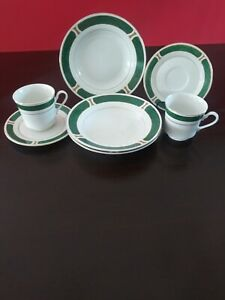 Set-Of-7-Majesty-Malachite-8420-Green-Gold-Trim-3-Bowls-2-Coffee-Cups-w-Sau