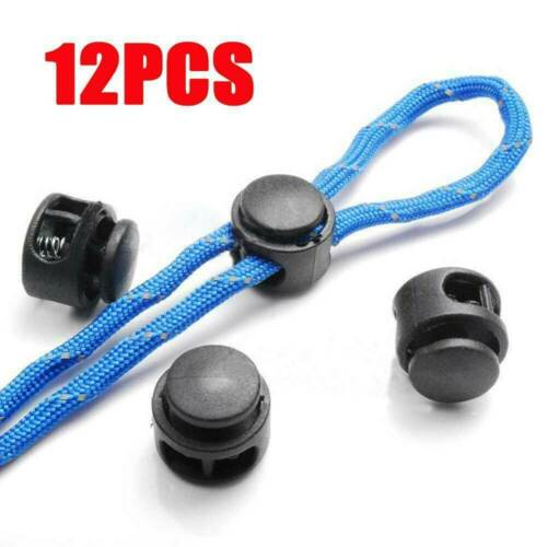 12PCS Paracord Cord Lock Stopper Toggle 2 Hole Clamp Adjuster Buckle BLACK~