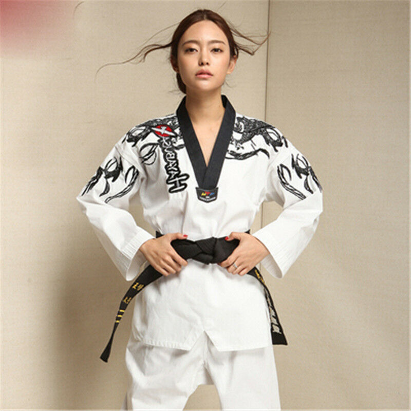 18 hot Men Women Master Taekwondo Uniforms Dobok Tae Kwon Do Trainer Suit Sz new