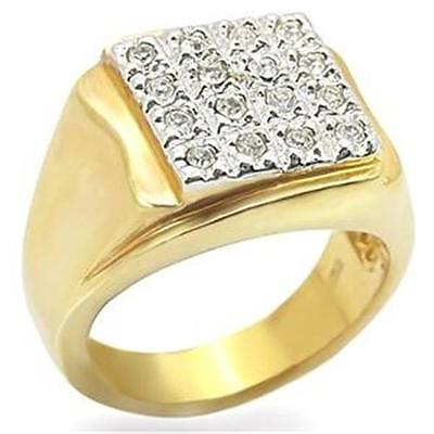 14K gold ep mens 2.8ct diamond simulated  ring 8 or Q