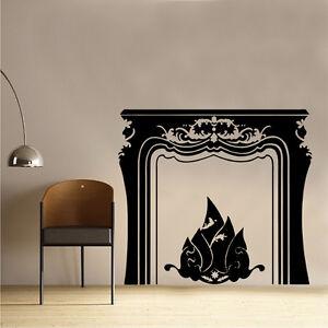 Open fire place vinyl wall sticker art living dining room for Dining room vinyl wall art