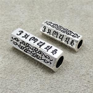 925-Sterling-Silver-Om-mani-padme-hum-Hexagon-Tube-Bead-for-Bracelet