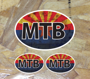 3 for 1 MTB Rusty Mountain Bike AZ Arizona Flag Mountain Bike sticker decal