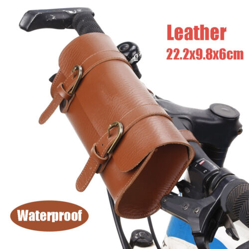 Leather Bag Motorcycle Bike Handlebar Pouch Storage Waterproof Container