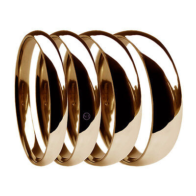 9ct Rose Gold 3mm Court Wedding Band Ring Size S Hallmarked