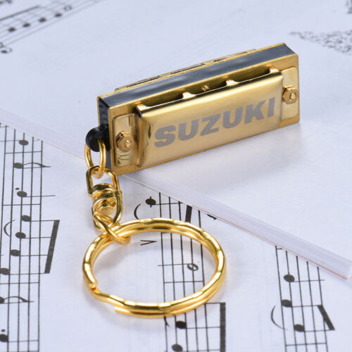 Suzuki Mini 5 Löcher 10 Ton Mundharmonika Keychain Key of C Golden B2R5