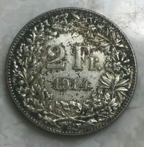 1914 Switzerland 2 Francs - Silver - Nice Condition