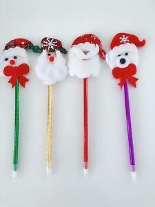 4x-Xmas-Christmas-Santa-Claus-snowman-Ball-Pen-Party-Novelty-Favor-Favour-Gift