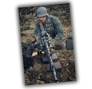 War-Photo-German-gunner-MG-34-War-in-color-WW2-Glossy-Size-034-4-x-6-034-inch-T