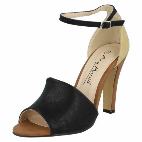 Anne Michelle L3R393 Ladies Black//Cream//Tan Court Shoes R30A