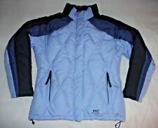 sz M Medium Helly Hansen Blue Striped Down Feather Puffer Ski Snow Jacket Coat