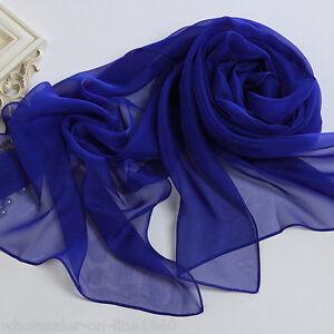 Women-Fashion-Pretty-Long-Soft-Navy-Blue-Chiffon-Scarf-Wrap-Shawl-Stole-Scarves