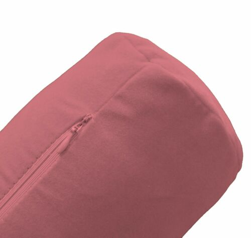 mb58g Dusty Pink Micro Suede Flock Velvet Bolster COVER Yoga Neck Roll CASE Size