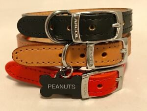 NEW-ANCOL-heritage-real-LEATHER-DOG-COLLAR-with-ENGRAVED-Bone-ID-TAG