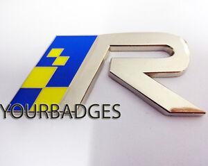 blau-und-gelb-Chrom-Lack-Volvo-R-Metall-Auto-Emblem-T5-XC90-V70