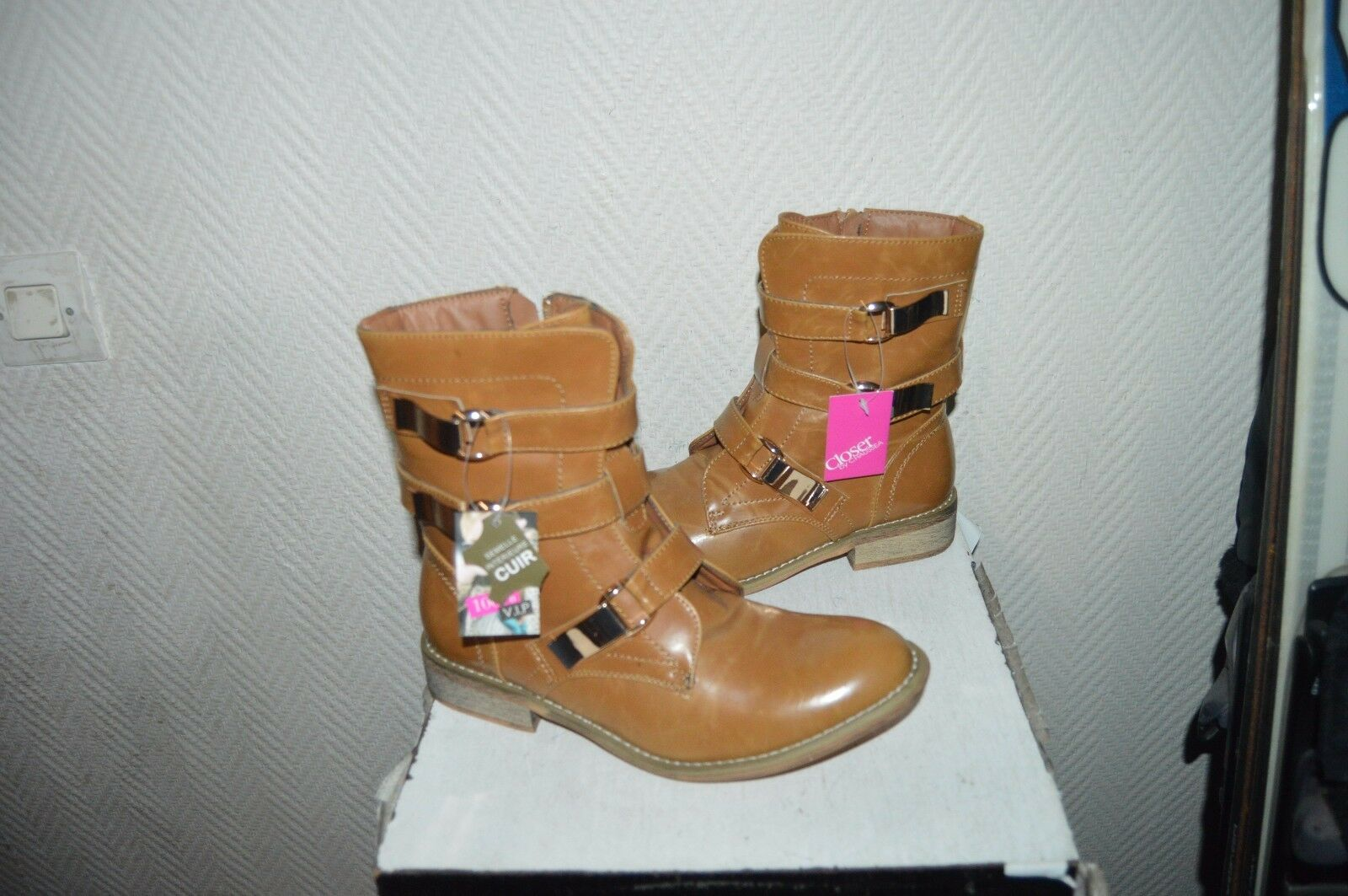 BOTTINE BOTTE CLOSER NEUF  TAILLE 39 /BOOTS/BOTAS/R<wbr/>ANGERS/STIVALI CUIR INT