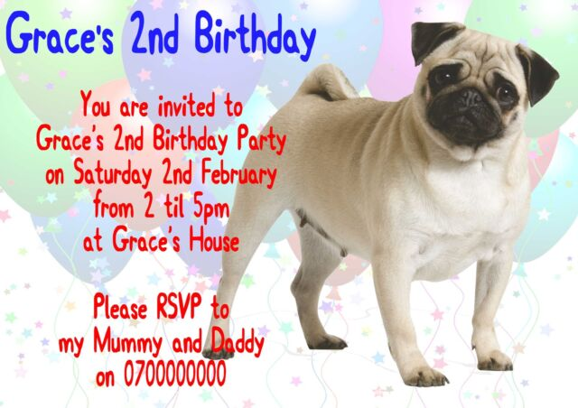 10 Personalised Pug Party Invitations Kids Children Party Dog Pup