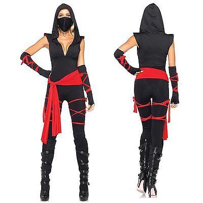 Ninja Assassin Costume Womens Black Red Sash Bodysuit Australian Seller