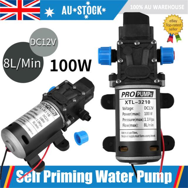 High Pressure Self Priming Water Pump 160Psi 8Lpm Caravan Camping Boat 12V 100W