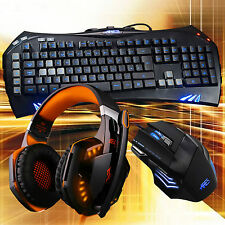 ARES K5 7 LED Color Gaming Keyboard G2000 Orange Headset 3200 Wired Mouse Combo