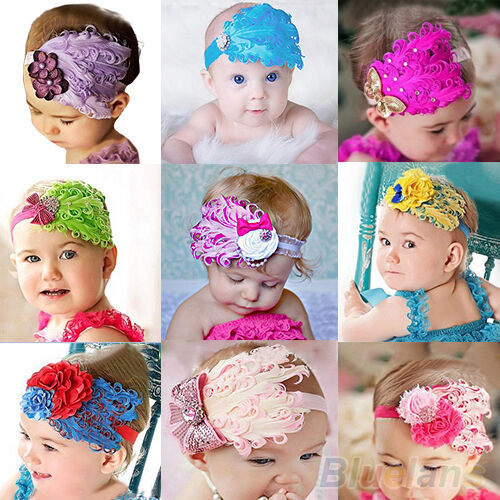 Lovely Baby Kids Girl Infant Toddler Feather Headband Lace Flower Hair Band B52A