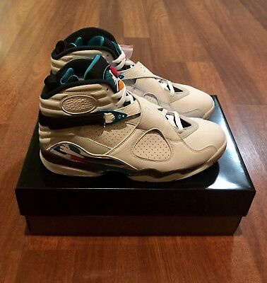 new style 890f3 e22b2 NEW DS 2018 AIR JORDAN 8 RETRO 305381-113 WHITE TURBO GREEN SOUTH BEACH