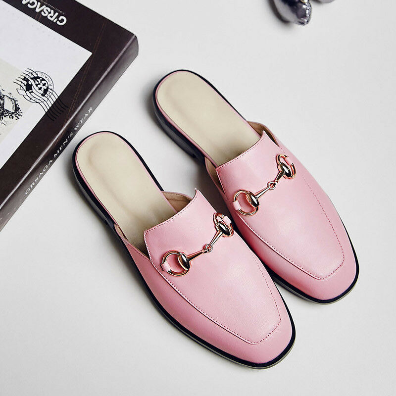 Womens Mules Backless Loafer Slippers Slides Fashion Princetown shoes PU Leather