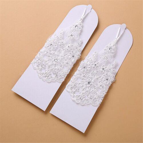 Girls First Holy Communion Baptism Satin Beaded Pearl Fingerless Diamanté Gloves