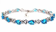 Silver London Blue Topaz Pear Cut 7.63ct Tennis Bracelet (925)