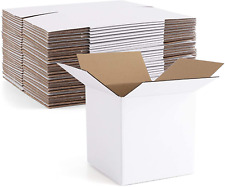 Euapko 4x4x4 Cardboard Box Mailers 25 Pack White Cube Corrugated Small Shipping