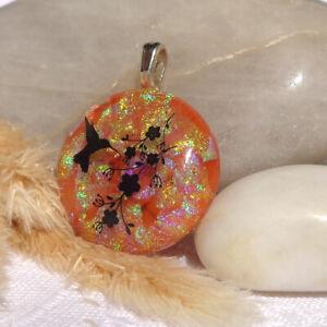 Handmade-Dichroic-Glass-Pendant-Necklace-Women-039-s-Jewellery-Golden-Hummingbird