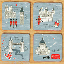 Alice Tait London Map Coasters - Assorted Set of 4 with felt backing Blue & Red