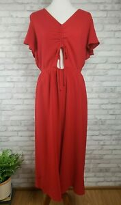 Leith jumpsuit XXL red cropped length wide legs peekaboo belly detail