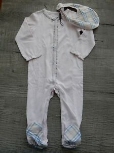 2b523439ff66 New Burberry Girls 2-piece Jacey Footie   Bib Outfit Pajama Set ...