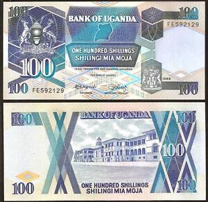 UGANDA 100 SHILLINGS 1988 UNC P 31b