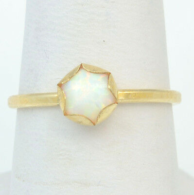 Handmade Vintage 14K Gold Filled Ring Size 7.25 with 6mm White Fire Opal
