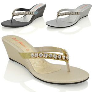 de6da10adc5 Image is loading Womens-Wedge-Heel-Sandals-Sparkly-Diamante-Ladies-Flip-