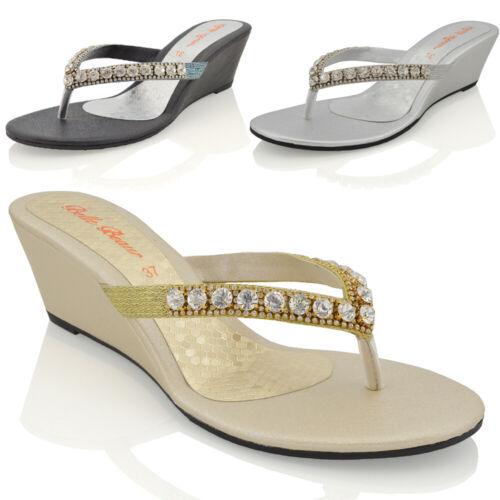 Womens Wedge Heel Sandals Sparkly Diamante Ladies Flip Flop Summer Holiday Shoes