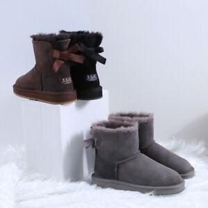 NOCK-Womens-Ladies-Short-Bailey-Ribbon-Bow-Water-Resistant-Sheepskin-Boots