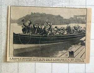 1923 Party Of Salford Schoolboys On River Trip In Motorboat - Bishop Auckland, United Kingdom - 1923 Party Of Salford Schoolboys On River Trip In Motorboat - Bishop Auckland, United Kingdom