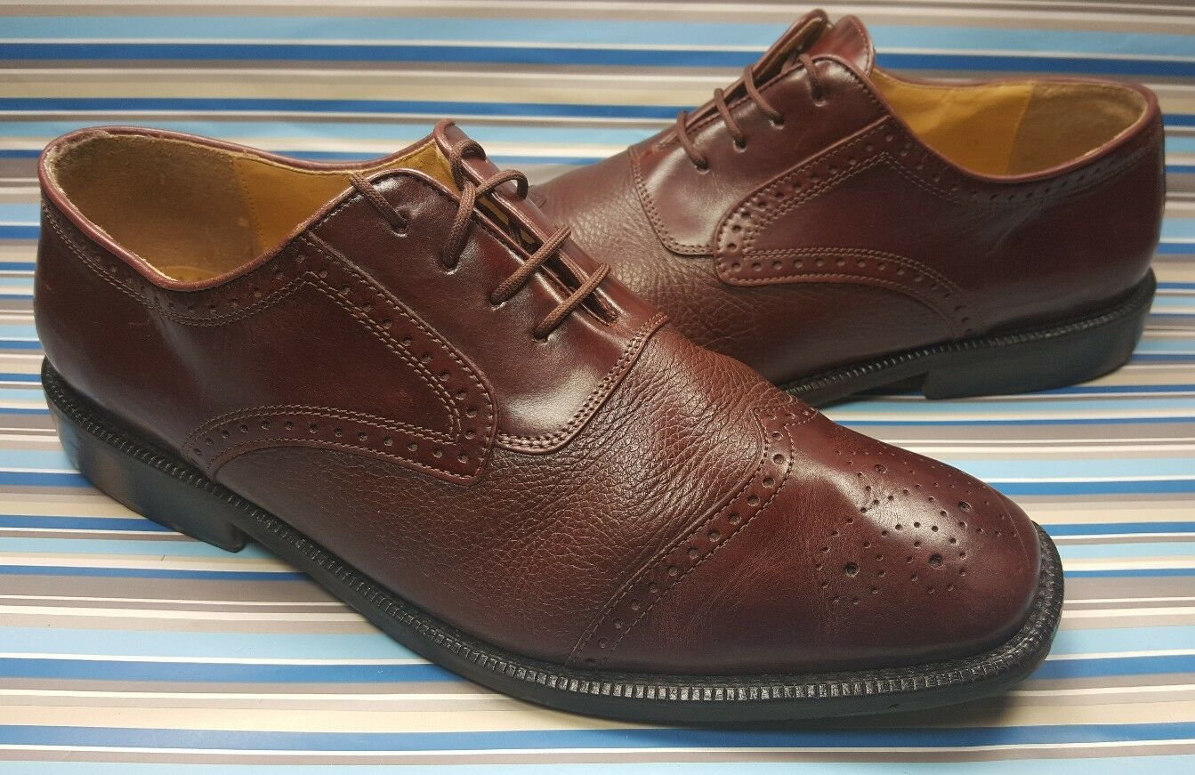 GIORGIO BRUTINI BROGUED WING TIP OXFORD BURGUNDY LEATHER MENS SHOES 10.5 D