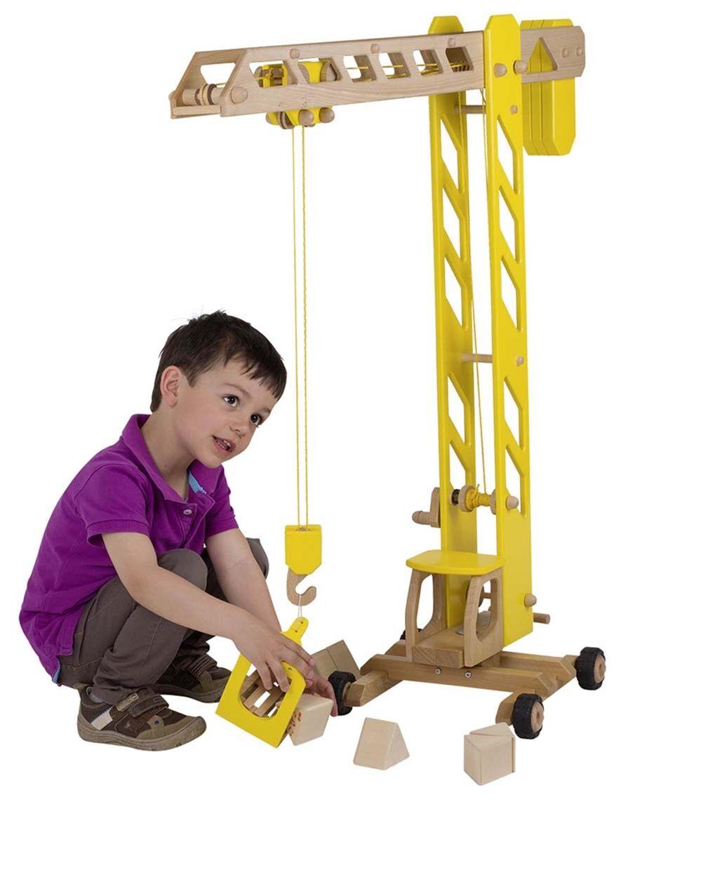 XXL Baukran Baukran Baukran gelb 1m großer Turmdrehkran Goki Kran aus Holz für Baustelle Kran c33a95