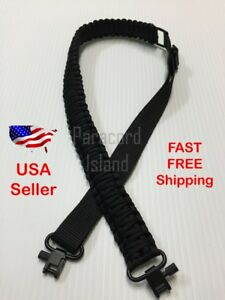 NEW-All-Black-Adjustable-550LB-Paracord-Rifle-Gun-Sling-Strap-w-Swivels-Hunting
