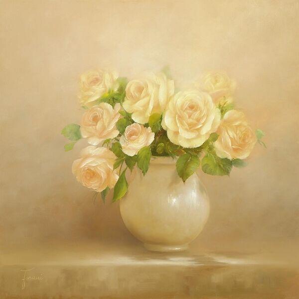Fasani   Romantique Roses I Tableau Prêt 60x60 Roses Fleurs Tableau Mural