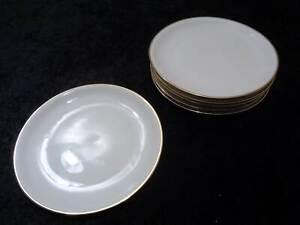 6-x-Kuchenteller-mit-Goldrand-DDR-Design-Kahla-Porzellan-Vintage-um-1970