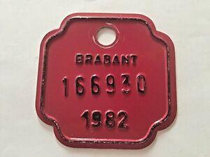 Vintage Belgian Bicycle License Plate 1982.